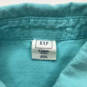 GAP Shirts & Tops - Gap Green Teal Linen Blend Button Up Shirt A000777